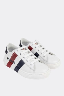 Moncler Enfant Boys White Leather Trainers