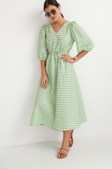 Green Check Swing Midi Dress