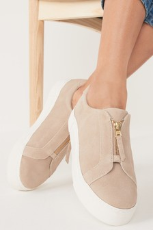 Camel Chunky Zip Trainers