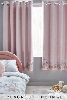 Pink Story Book Woodland Cotton Waffle Eyelet Blackout Curtains