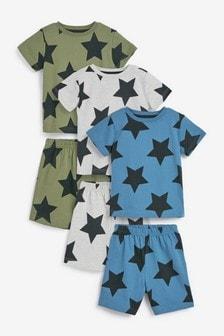 Khaki/Blue Star 3 Pack Short Pyjamas (9mths-12yrs)