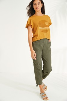 Khaki Cropped Utility Trousers