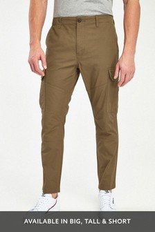 Stone Cotton Cargo Trousers