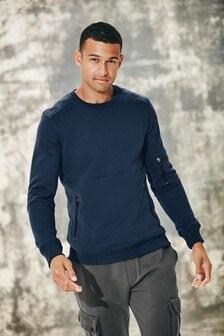 Blue Utility Crew Neck Sweater