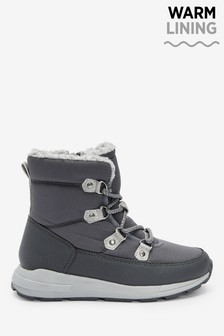 Grey Warm Lined Sporty Hiker Boots (Older)