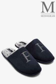 Navy Medium Monogram Slippers