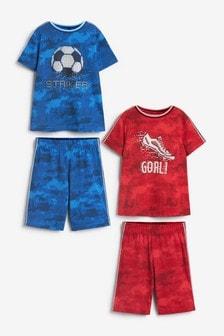 Red/Blue Football 2 Pack Short Pyjamas (3-16yrs)
