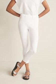 White Jersey Cropped Leggings