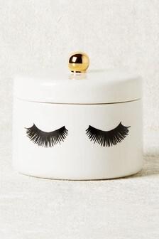 White Eyelash Trinket Pot