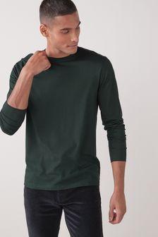 Bottle Green Long Sleeve Crew Neck T-Shirt