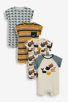 Mineral Whale 4 Pack Rompers (0mths-3yrs)