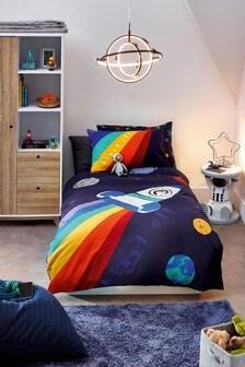 Blue Blue Space Rocket Duvet Cover And Pillowcase Set
