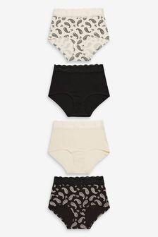 Black/Cream/Paisley Lace Trim Cotton Blend Knickers 4 Pack