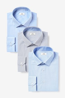 Blue Stripe And Print Shirts Three Pack