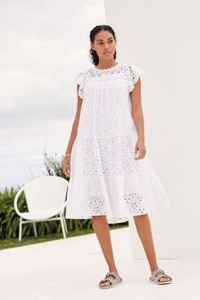 White Broderie Ruffle Sleeve Midi Dress
