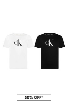 Calvin Klein Jeans Girls Black/White Cotton T-Shirts 2 Pack