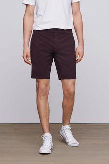 Burgundy Stretch Chino Shorts