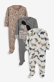 Monochrome Dog 3 Pack Sleepsuits (0-2yrs)