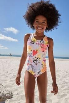 Pink Slogan Sports Swimsuit (3-16yrs)