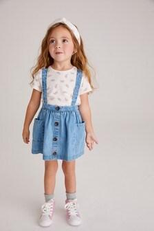 Denim Light Wash Skirt, T-Shirt And Headband Set (3mths-7yrs)