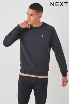 Navy Blue With Stag Crew Sweatshirt