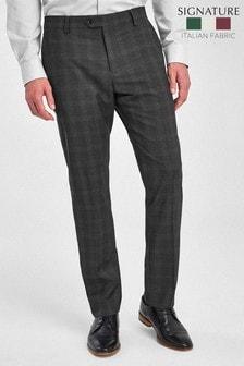 Grey Check Signature Tollegno Fabric Slim Fit Suit