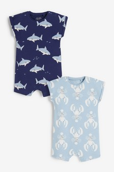 Blue Lobster 2 Pack Rompers (0mths-3yrs)
