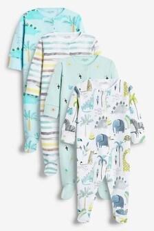 Watercolour Safari 4 Pack Sleepsuits (0-2yrs)