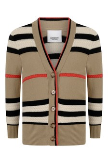 Burberry Kids Girls Beige Check Wool And Cashmere Cardigan