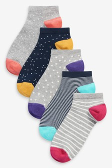 Multi Spot Stripe Trainer Socks Five Pack