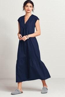 Navy Woven Mix Short Sleeve Dress