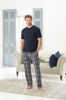 Navy/Blue Check Cosy Pyjama Set