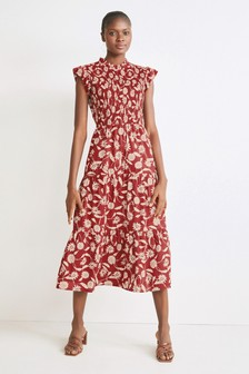 Rust Floral Shirred Dress