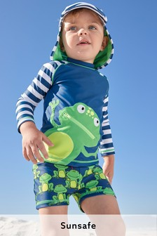 Navy Frog 2 Piece Sunsafe and Hat Set (3mths-7yrs)
