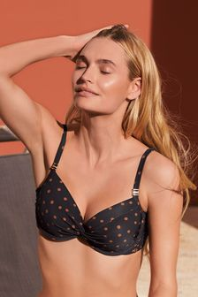 Black/Tan Spot Shape Enhancing Bikini Top