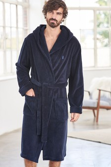 Navy Super Soft Hooded Dressing Gown