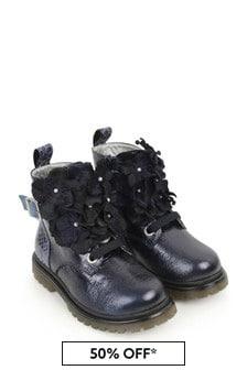 Monnalisa Girls Blue Leather Flower Boots