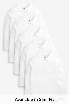 White 5 Pack Cotton Long Sleeve Polo Shirts (3-16yrs)