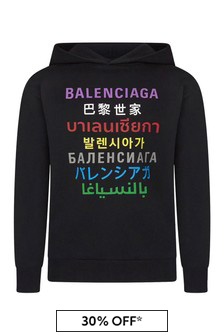 Balenciaga Kids Black Cotton Hoody