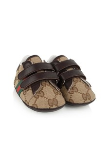 GUCCI Kids Brown GG Pre Walker Shoes