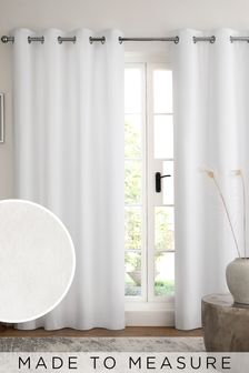 White White Cotton Eyelet Lined Curtains