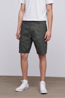 Khaki Green Cotton Cargo Shorts