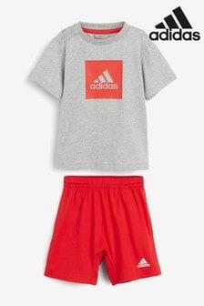 Baby Girls adidas Originals Leggings Set In Red Navy Short Sleeve T-Shirt: