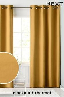 Mustard Yellow Mustard Yellow Cotton Eyelet Blackout/Thermal Curtains