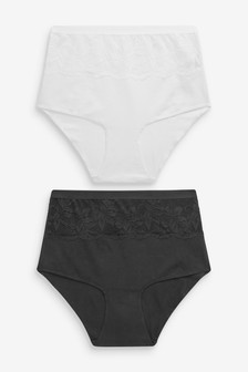 Black/White Cotton Shaping High Waist Knickers Two Pack