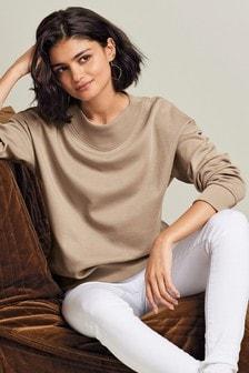 Mink Collar Detail Sweatshirt