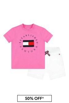 베이비 핑크 코튼 티셔츠와 반바지Tommy Hilfiger