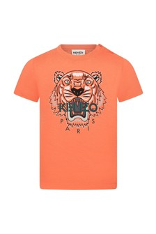Kenzo Kids Baby Boys Orange Cotton T-Shirt