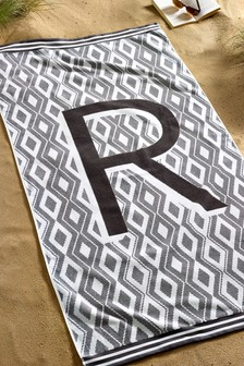 Grey Alphabet Geo Beach Towel
