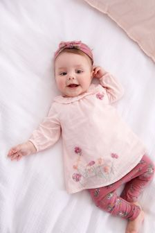 Pink Embroidered Tunic, Leggings And Headband Set (0mths-3yrs)